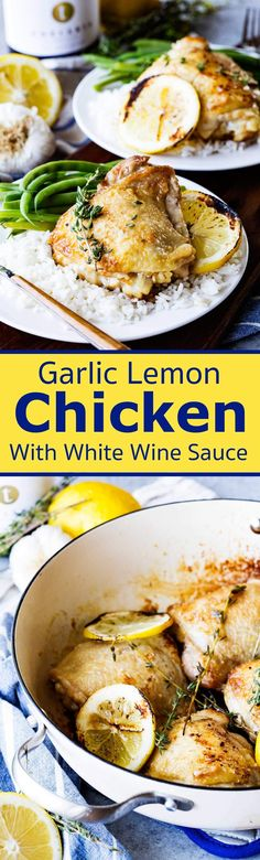 Skillet Garlic Lemon Chicken with White Wine Sauce - Eazy Peazy Mealz