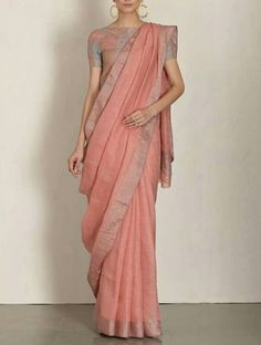 Linen by linen 100 count peach pure organic handwoven saree with silver zari border,peach linen saree,peach Lenin saree,partywear linen sari Indian Dresses, Indian Outfits, Indian Bridesmaid Dresses, Moda India, Formal Saree, Casual Saree, Modern Saree, Simple Sarees, Trendy Sarees