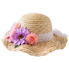 Connectyle Kids Classic Lovely Summer Straw Hat Cap Flowers Beach Sun Protection Hats for Girls. 90% Natural Straw, 10% Polyester excluding flowers. Decorative lace band and flowers at crown. Sweat band inside and adjustable strap. Spot clean or wipe clean; imported. Protective hat for use in Spring Summer Autumn.