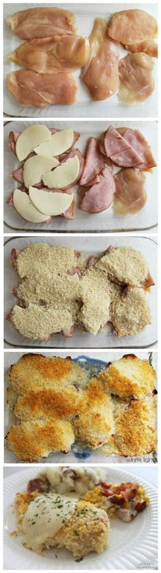 Chicken Cordon Bleu - better than the longer method and sauce is awesome. We serve it over rice.