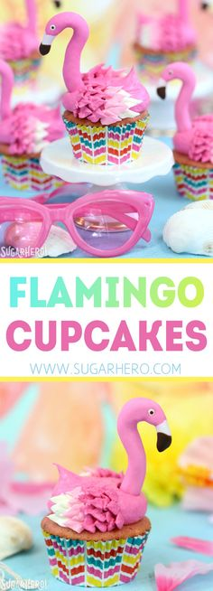 Flamingo Cupcakes - pink lemonade cupcakes decorated to look like pink flamingos! Easy, cute, and perfect for summer! | From SugarHero.com