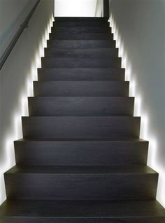 Today's emphasis? The stairs! Here are 26 inspiring ideas for decorating your stairs tag: Painted Staircase Ideas, Light for Stairways, interior stairway lighting ideas, staircase wall lighting. Led Stair Lights, Stairway Lighting, Solar Lights, Ceiling Lighting, Basement Stairs, House Stairs, Open Basement, Basement Ideas, Indoor Step Lights
