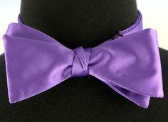 Mens Self Loop Poly Satin Bow Tie Wedding Prom Fashion Medium Purple Bowtie New…