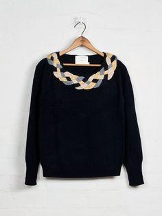 Plaited Collar Jumper - Black