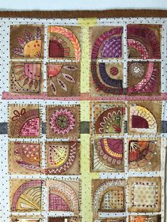 """I am thrilled and honored to have my art quilt, Clan of Misfits , accepted into the """"Best of Dinner quilt exhibition debuting Houst. Sewing Crafts, Sewing Projects, Tea Bag Art, Abstract Embroidery, Quilting Designs, Art Quilting, Quilt Art, Contemporary Quilts, Fabric Art"""