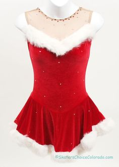 Consignment Skating Dress Iskatewear Red Velvet Santa Dress with White Fur Trim and Stones Color: Red and White Size: Adult Extra Small Christmas Dance Costumes, Christmas Dress Up, Christmas Ideas, Red Leotard, Tap Costumes, Cheerleader Costume, Santa Dress, Figure Skating Costumes, Costumes