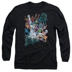 Green Lantern/Lanterns Unite Long Sleeve Adult T-Shirt 18/1 in