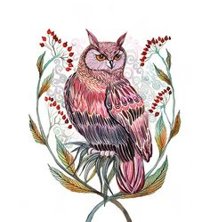 Art d'oiseau chouette imprimé / / vente 3 pour 2 par TevaKiwi