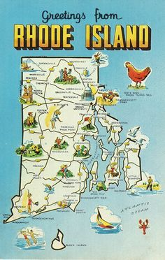 Rhode Island State Map Vintage Postcard By Heritagepostcards - Usa map rhode island