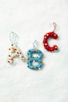 DIY - these would be easy to make, a very unique personal tree or package decoration - Pop Dot Monogram Ornament Letter Ornaments, Unique Christmas Ornaments, Christmas Love, Felt Ornaments, Homemade Christmas, Christmas Crafts, Merry And Bright, Anthropologie, Decoration