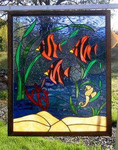 Tropical Fish, Stained Glass Framed Panel, by Jannie Ledard Glass Art