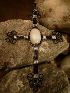 Black Cross Pendant Necklace With White Quartz Wire by EarthArtsNW, $65.00