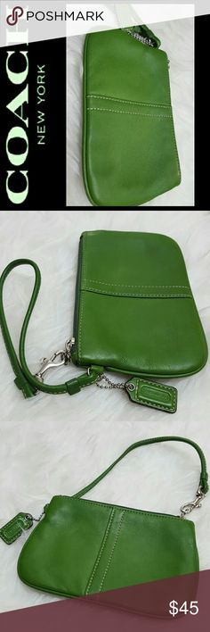 Coach Leather Wristlet Coach Signature Leather Wristlet in Green Shade! Silver Tone Hardware with Coach FOB, Great Carrying Cards, etc! Approx Size 6x4 inches, Mint Condition! Coach Bags Clutches & Wristlets