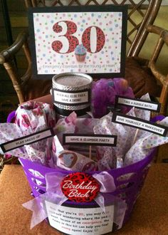 """30th Birthday Gift Basket. 5 gifts in 1! Emergency Essentials for the Young at Heart: """"TAKE A BUBBLE BATH""""=Loofah & Bubble Bath, """"GIVE YOURSELF A MAKEOVER""""=Makeup & Nail Polish/Accessories, """"PLAY DRESS-UP""""=Jewelry, """"HAVE A SLUMBER PARTY""""=Movie From Childhood/Early Teens, Popcorn & Candy, """"WHEN ALL ELSE FAILS, HAVE A DRINK!""""=Favorite Wine & Wine Glass. Wrap & label everything and put it all in a basket or bin."""