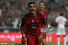 Portugal forward Andre Silva celebrating after scoring a goal during the match between Portugal v Switzerland FIFA 2018 World Cup Qualifier match at. Portugal, Fifa, World Cup Qualifiers, Scores, Switzerland, Goals, Celebrities, Fotografia, Celebs