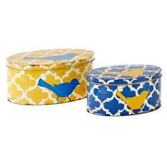 Check out this item at One Kings Lane! Asst. of 2 Tin Bird Boxes, Yellow/Blue