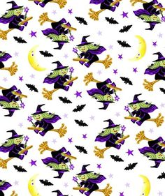 Holiday Inspirations Halloween Fabric- Flying Witches White