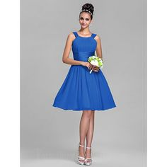 Short Knee-length Chiffon Stretch Satin Bridesmaid Dress Daffodil Royal Blue Ruby Champagne Grape Plus Sizes Dresses Petite A-line Straps #blueformaldress Cheap Formal Dresses, Plus Size Formal Dresses, Petite Dresses, Blue Dresses, Dresses For Work, Formal Dresses Australia, Satin Bridesmaid Dresses, Stretch Satin, Daffodil