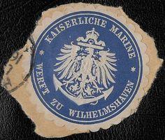 + 1871 Wilhelmshaven Germany Marines Arms Anchor Embossed Envelope Seal