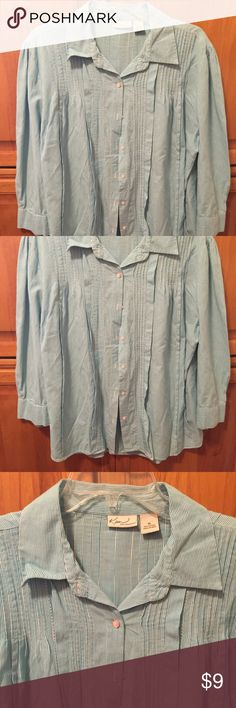 Kim Rogers XL turquoise stripe long sleeve blouse! Kim Rogers XL turquoise and white stripe. Long sleeve blouse with the cutest detailing on the front and back Kim Rogers Tops Blouses