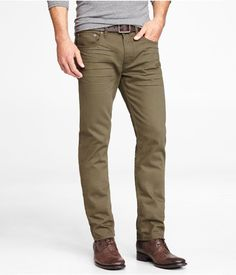 Rocco colored slim fit skinny leg jean - Olive by Express Business Casual Attire For Men, Men Casual, Casual Outfits, Olive Pants Outfit, Olive Jeans, Masculine Style, Dapper Men, Sharp Dressed Man, Stylish Men