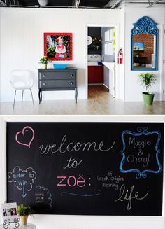 love the chalkboard to welcome visitors to studio
