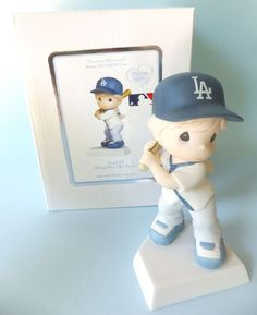 Precious Moments Swing Fence Baseball LA Cubs 104036 Figurine Girl repaired