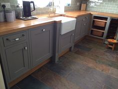 With white flor and different work tops