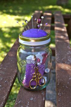 Kilner jar pincushion and sewing kit
