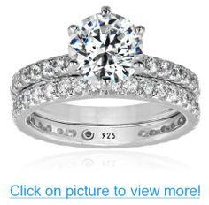 Platinum Plated Sterling Silver Swarovski Zirconia Ring Set