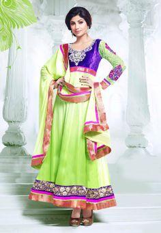 #Green #Anarkali Churidar Kameez