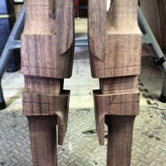 6 degree splay Maloof style joinery. #wood #woodworking #woodshop #walnut #