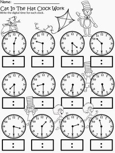 Kindergarten math - Free The Cat In The Hat Clock Work For educational purposes only not for profit Based on the story by Dr Seuss 3 different levels for differentiated instruction Analog and Digital Clocks Enjoy! Regina Davis aka Queen Chaos at Fa Teaching Time, Teaching Math, Teaching Spanish, Teaching Ideas, School Worksheets, Clock Worksheets, 3rd Grade Math Worksheets, Money Worksheets, Multiplication Worksheets