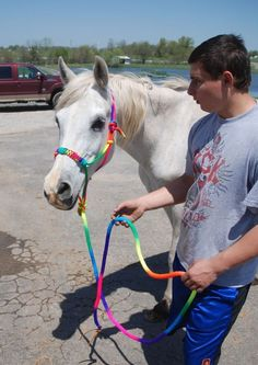 Striking tie dye Rainbow rope halter braided nose & 8 ft lead - what color!! in Sporting Goods, Outdoor Sports, Equestrian   eBay