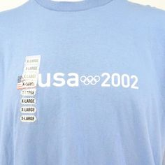 Roots Men's Size XL 2002 USA Olympic Team Blue Cotton Short Sleeve Logo T-shirt #Roots #GraphicTee
