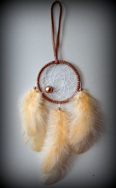 2'' Brown Suede Dream Catcher with rose gold by DreamySummerNights