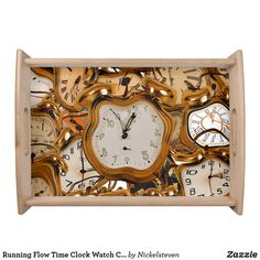 Shop Running Flowing Time Clock Watch Club Bar Room Beverage Coaster created by Nickelsteven. Food Serving Trays, Food Trays, Proper Running Form, Time Clock, Custom Coasters, Girl Running, Drink Coasters, Decorating Your Home, Cleaning Wipes