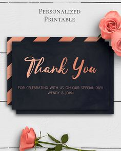Rose Gold Navy Wedding Thank You Card with unique and elegant rose gold and navy blue design in modern wedding style by Amistyle Digital Art on Etsy Watercolor Wedding Invitations, Wedding Invitation Suite, Wedding Stationery, Blue Design, Wedding Thank You Cards, Printable Cards, Save The Date Cards, Art Market, Creative Writing