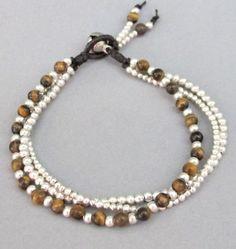 4 mm Tiger Eye Stone Silver Colour Bead by handmadethaicountry