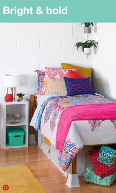 Pillows and bedding so bright you might need shades. Layer your bed with colorful prints and pops of color, with plants above to bring some nature into your small space. Curl up with countless pillows. Then you can just throw them in a basket when it's time for bed. It's an easy way to make your dorm room stand out from the crowd. Oh, and did we mention pillows? You can never have too many pillows.