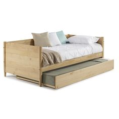 Camaflexi Mid-Century Scandinavian Oak Twin Size Daybed with Twin Size Trundle Bed - The Home Depot Trundle Mattress, Twin Daybed With Trundle, Two Twin Beds, Trundle Beds, Wooden Trundle Bed, Ikea Twin Bed, Plywood Furniture, George Nelson, Eames