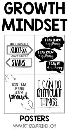 Growth Mindset Posters for the classroom | Encouraging and positive | Grit | Perseverance
