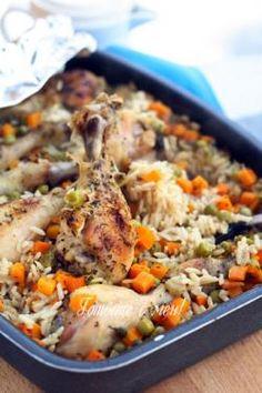 Мързеливи пилешки бутчета с ориз
