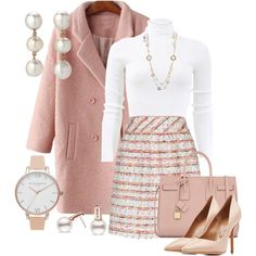 Blush pink winter coat and skirt ensemble with matching handbag and heels fashion classy classyoutfits ootd outfitideas workoutfits womensfashion fashionoutfits fashionista winteroutfits winterfashion stylegoals coat coatforwomen maxinnehope Mode Outfits, Office Outfits, Fall Outfits, Fashion Outfits, Womens Fashion, Winter Office Outfit, Fashion Heels, Travel Outfits, Woman Outfits