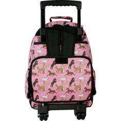Wildkin Horses in Pink High Roller Rolling Backpack  - Click image twice for more info - See a larger selection of kids hiking day back packs at   http://kidsbackpackstore.com/product-category/kids-hiking-daybackpacks/ -  kids, juniors, back to school, kids fashion ideas, school supplies, backpack, bag , teenagers,  boys, girls  gift ideas,school bag,outdoor, travel