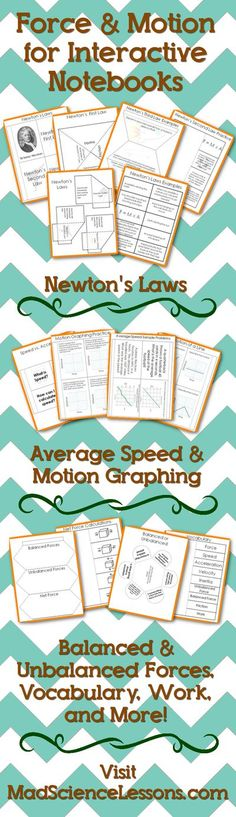 Force and Motion interactive notebook pages for your middle school science students studying physics. Reinforce vocabulary words including speed, velocity, and acceleration with graphing problems. Activity pages for Newton's Laws with practice problems an Third Grade Science, Science Student, Middle School Science, Science Classroom, Science Education, Teaching Science, Science Activities, Physical Science, Mad Science