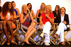Martina Navratilova Serena Williams, Chris Evert, Martina Navratilova and Justine Henin laugh on stage during the WTA 40 Love Celebration during Middle Sunday of the Wimbledon Lawn Tennis Championships at the All England Lawn Tennis and Croquet Club on June 30, 2013 in London, England.