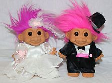 wedding troll dolls | Wedding Troll Dolls 8 inchs Pink and Purple Hair Russ Toy Bride Groom