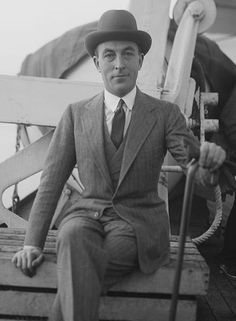 """Jean Patou (1880-1936) French fashion designer & founder of the Jean Patou brand. In 1912, he opened a small dressmaking salon called """"Maison Parry"""". In 1919, he became known for eradicating the flapper look...is considered the inventor of the knitted swimwear & the tennis skirt. He is credited with inventing the """"designer tie"""" in the 1920s when men's ties, made in the same fabric as the women's dress collection, were displayed in department stores next to Patou's perfume counter."""