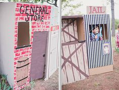 Cowboy Birthday Party photo boot jail house and general store.